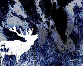Elk Art, White Silhouette, Cobalt Blue, Wildlife Southwest, Deer Moose, Woodland Home Decor, Textured Wall Hanging, Giclee Print, 8 x 10