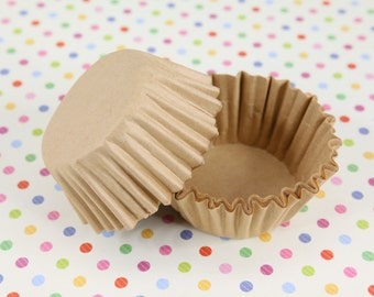 """Natural, Unbleached 1-5/8'' x 15/16"""" Paper Cupcake Muffin Liners, Baking Cups Bulk"""