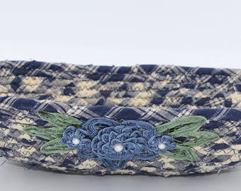 Blue flower coiled fabric basket