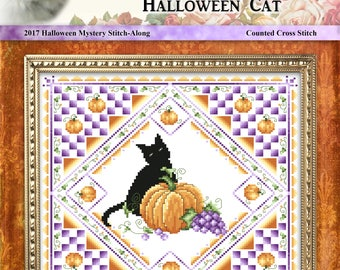 Halloween Cat 2017 Cross Stitch Halloween Mystery Stitch-Along Project