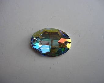 Cabochon Swarovski Crystal AB spacer connector