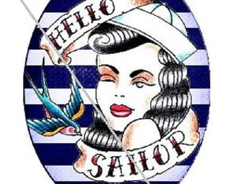 30x20mm, pinup, sailor, striped background (20x30mm)