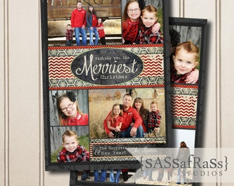 The Merriest-Christmas Card Template for Adobe Photoshop, Photographer Template, Instant Download, DIY, Commercial Use