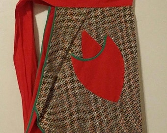 Vintage Half Apron - Red and Green Cotton