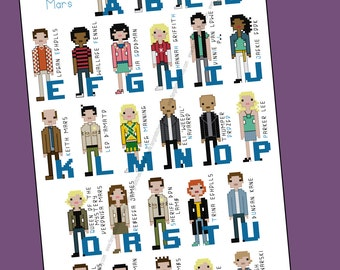 Veronica Mars inspired character alphabet cross stitch - PDF Pattern - INSTANT DOWNLOAD