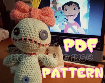 CROCHET-PATTERN: Voodoo Doll inspired by Scrump (Lilo and Stitch) Amigurumi ~ **Instructions Only**