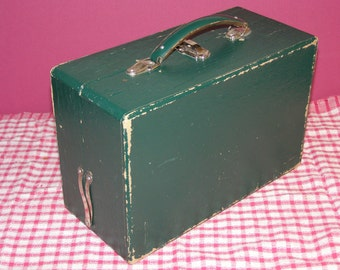 Vintage Wood and Pressed Paper Lunch Box