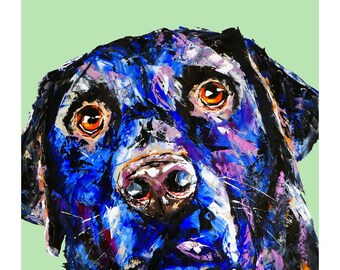 Labrador dog print,more colours,dog art print,mauve,mint,palette knife oil print,fine art paper,wall print,home decor,wall art,dogs lovers