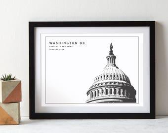 Washington DC Capitol Building Monochrome USA Art Print|personalised print|Washington DC|anniversary gift