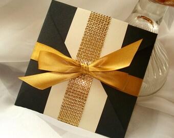 Glitzy Black & Gold Rhinestone Band Square Wedding Invitation - Sample