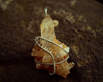 Clear Quartz Cluster Wire Wrapped Pendant