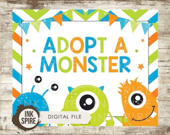 Adopt a Monster Birthday Sign, Little Monster Sign, Monster Party Sign, Monster Party Decor, Monster Birthday Printable, KEVIN, DIGITAL FILE