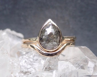 Rose Cut Diamond Ring, Unique Diamond Engagement Ring, Raw Salt and Pepper Diamond Ring, Pear, 14k Yellow, Rose, or White Gold