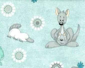 """Down Under on teal by KC MICK fabric, By the Half Yard, 45"""" wide, 100% cotton 