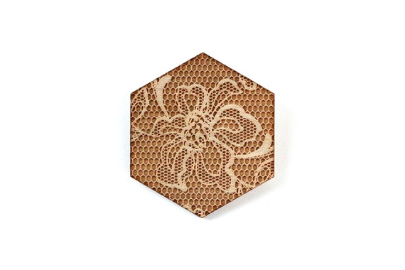 Hexagonal brooch with lace pattern - wedding pin - vintage jewelry - retro jewellery - lasercut maple wood - graphic accessory