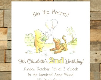 Classic Winnie The Pooh Birthday Invitation - Print Your Own - Digital File