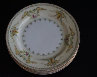 Vintage, Set of Six Meita China Laurel Dessert Plates