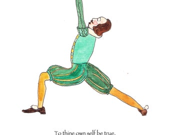 Shakespeare literary card, Shakespeare yoga illustration, Shakespeare blank greeting card, gift for book lover, to thine own self be true