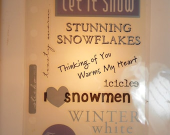 Winter White-Phrase Cafe/Scrapbooking Stickers- photo safe