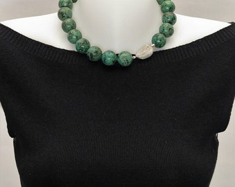 Necklace in turquoise green and silver Sterling 925