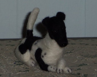 Smooth Fox Terrier with paws crossed example custom made to order
