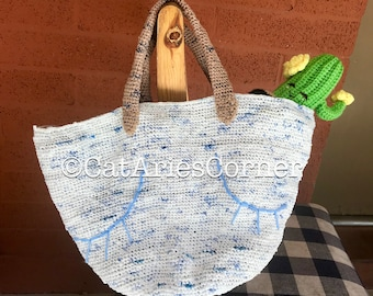 Handmade Crochet Plarn Tote Bag Beach Bag Market Bag Made from Recycled Grocery Bags Made To Order