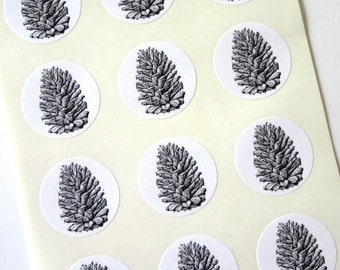 Pinecone Stickers One Inch Round Seals Pine Cone
