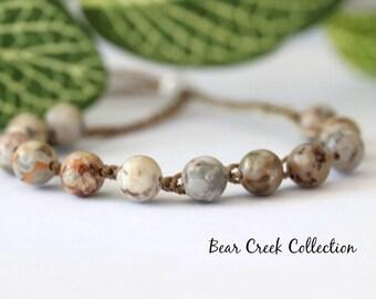 Fossil Jasper, Boho Bead Bracelet, Gemstone, Crochet Bracelet, Layering, Adjustable, Boho Jewelry, Bohemian, Bead and Cord Jewelry