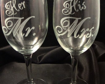 Custom Engraved Wine Glasses - Bride and Groom Glasses - Etched Wine Glass - Personalized Wine Glasses - Wedding Party Gift