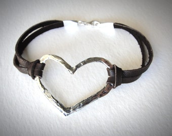 Leather Heart Bracelet, Sterling Silver Heart, Leather Bracelet, Love Bracelet, boho jewelry, gift for her, festival, mothers day