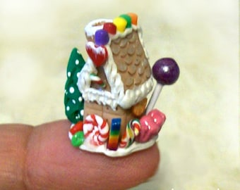 Micro Mini Gingerbread Wee House - Dime Size and Covered with Micro Candies Artisan Hand Sculpted OOAK