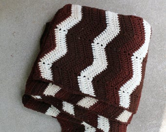 Vintage Afghan Blanket Crocheted Ripple Stripes Chevron Home Decor Brown Cream Fall Winter Style