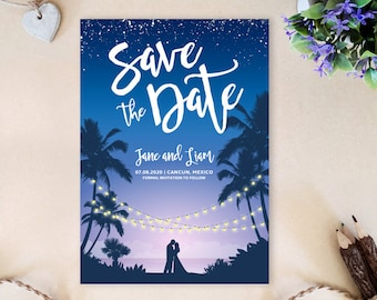 String lights save the date | Destination wedding save the dates PRINTED | Tropical palm beach wedding