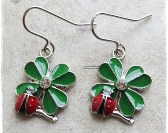 Enamel ladybird earrings, Shamrock earrings, Ladybug earrings, four leaf clover earring