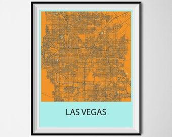 Las Vegas Map Poster Print - Orange and Blue