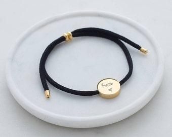 Personalised Skinny Cord Bracelet, Personalised bracelet, Bracelet, Friendship Bracelet, Charm bracelet,  Rose gold, Women's jewellery. Gift