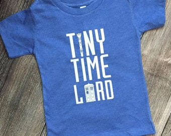 Tiny Time Lord Tee, Whovian tees for kids, Sonic Screwdriver, TARDIS, Geeky kid apparel