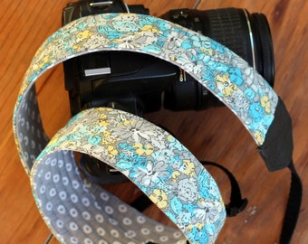 DSLR Camera Strap, Floral camera strap, padded camera strap, blue gray yellow strap for women, girlfriend gift, gift for photographer, canon