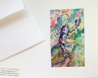 Greeting Cards Handmade - Maine Lobster at Sea #1 Greeting Card - Original Art