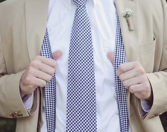 Men's Necktie and Suspenders in Navy Blue Gingham