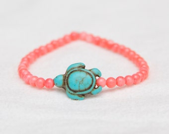 Turtle charm bracelet, pink bead jewelry, gift for her, turquoise bracelet, bead stretch bracelet, turtle jewelry, stack jewelry, stack boho