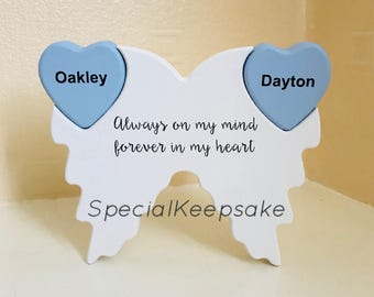 Angel Wings Wooden Freestanding Plaque Memorial Heaven Love Heart Gift Personalised Quote Keepsake Loss Forever In Our Heart