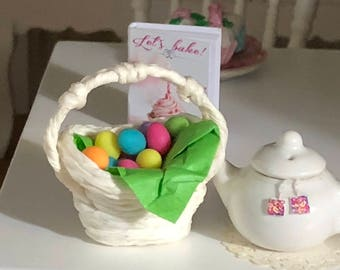 Miniature Easter Eggs With White Basket, Dyed Mini Eggs, Dollhouse Miniature, 1:12 Scale, Easter Decor, Mini Basket and Eggs