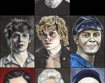 All 7 Evan Peters Characters from American Horror Story Copic Marker Drawing Art Print  11.7 x 16.5 inches