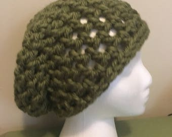 Army green slouch crochet beanie
