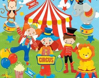 80% OFF SALE Circus clipart commercial use, Fun clowns vector graphics, digital clip art, digital images - CL683
