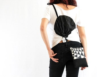 BE Crossbody - Black crossbody bag with hand painted details
