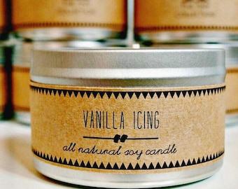 VANILLA ICING Soy Candle // Vanilla Candle Essential Oil Food Gift Baked Goods Scandinavian Decor Modern Decor Gift for Her House Warming