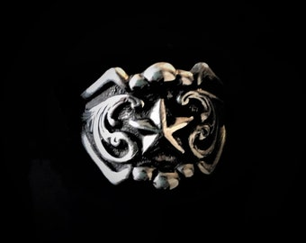 Rockin Out Jewelry - Texas Star Ring - Sterling Silver - Valentines Jewelry - Gift For Her - Western Rings - Starburst - Antiqued - scrolls