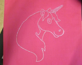 Rhinestone Crystal Unicorn Cotton Tote Bag